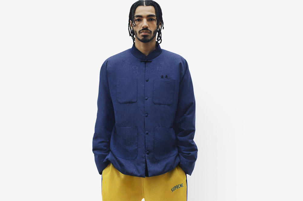 Supreme Spring/Summer 2018 Collection Lookbook Mandarin Collar Shirt Blue