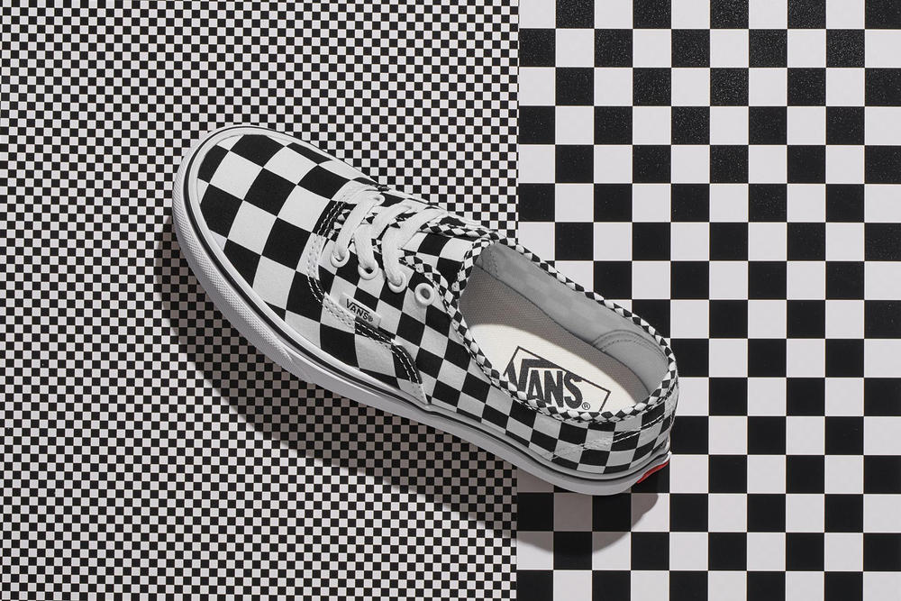 Vans Checkerboard Pattern Sk8-Hi Authentic Sneakers Black White Silhouette Skate Shoe