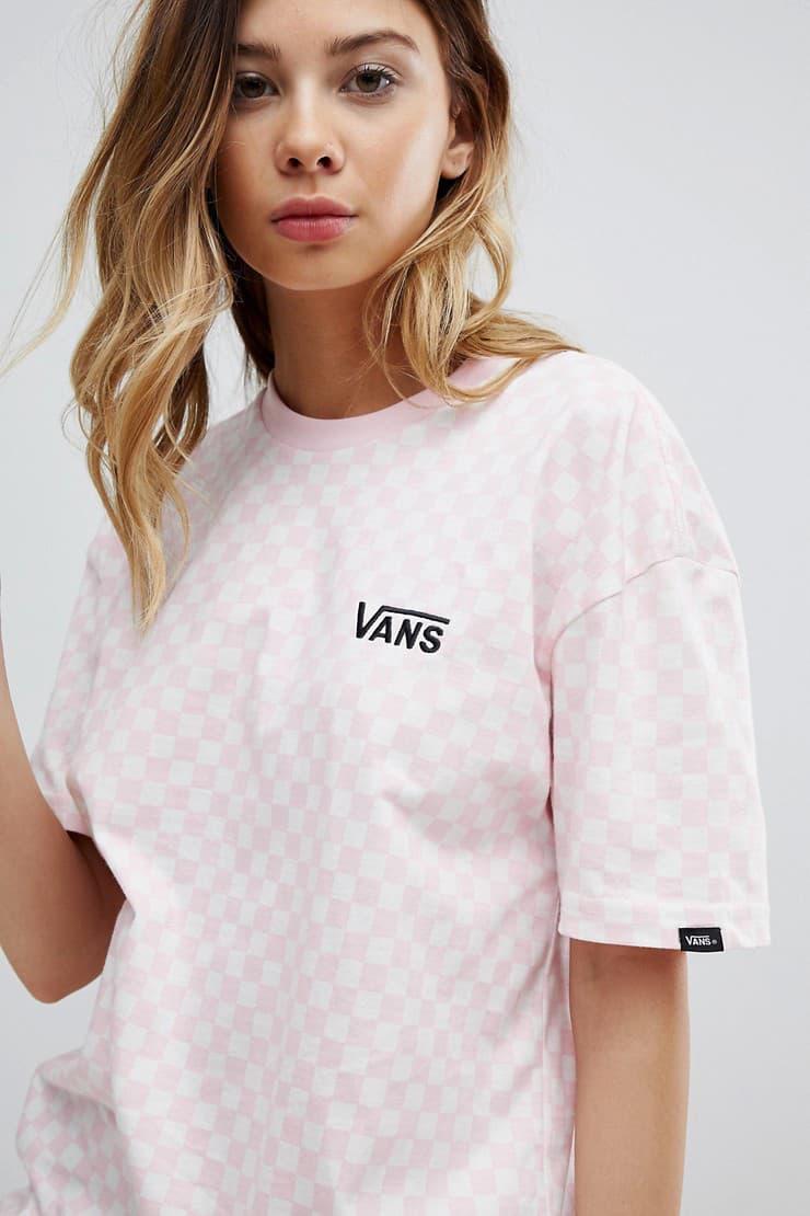 Vans womens girls millennial pastel pink checkerboard pattern logo t shirt oversized asos