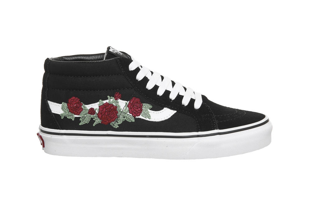 e9437bc41a0c Vans sk8-mid black white rose thorns floral embroidery mens womens unisex  where to buy