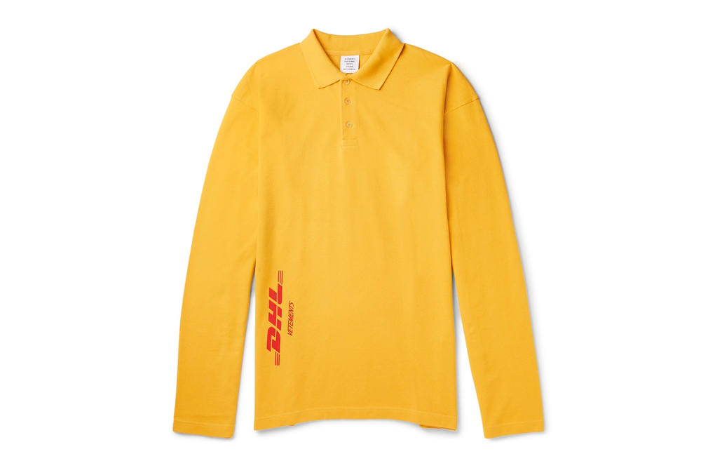 Vetements DHL Spring Summer 2018 Capsule Collection Polo Long Sleeve Shirt Yellow