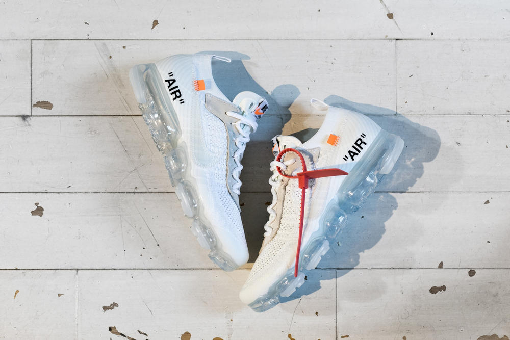 Virgil Abloh x Nike Air VaporMax Flyknit White Off-White Sneakers Shoes Collaboration Collection
