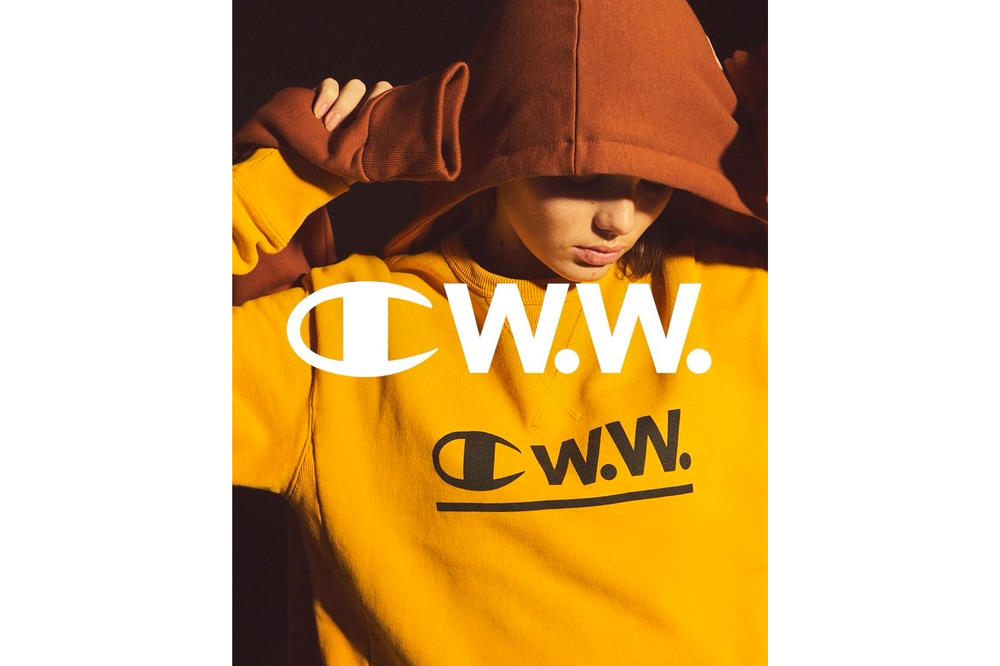 Champion Wood Wood Spring Summer 2018 Collaboration Collection Yellow Crewneck Sweatshirt Sweater Logo