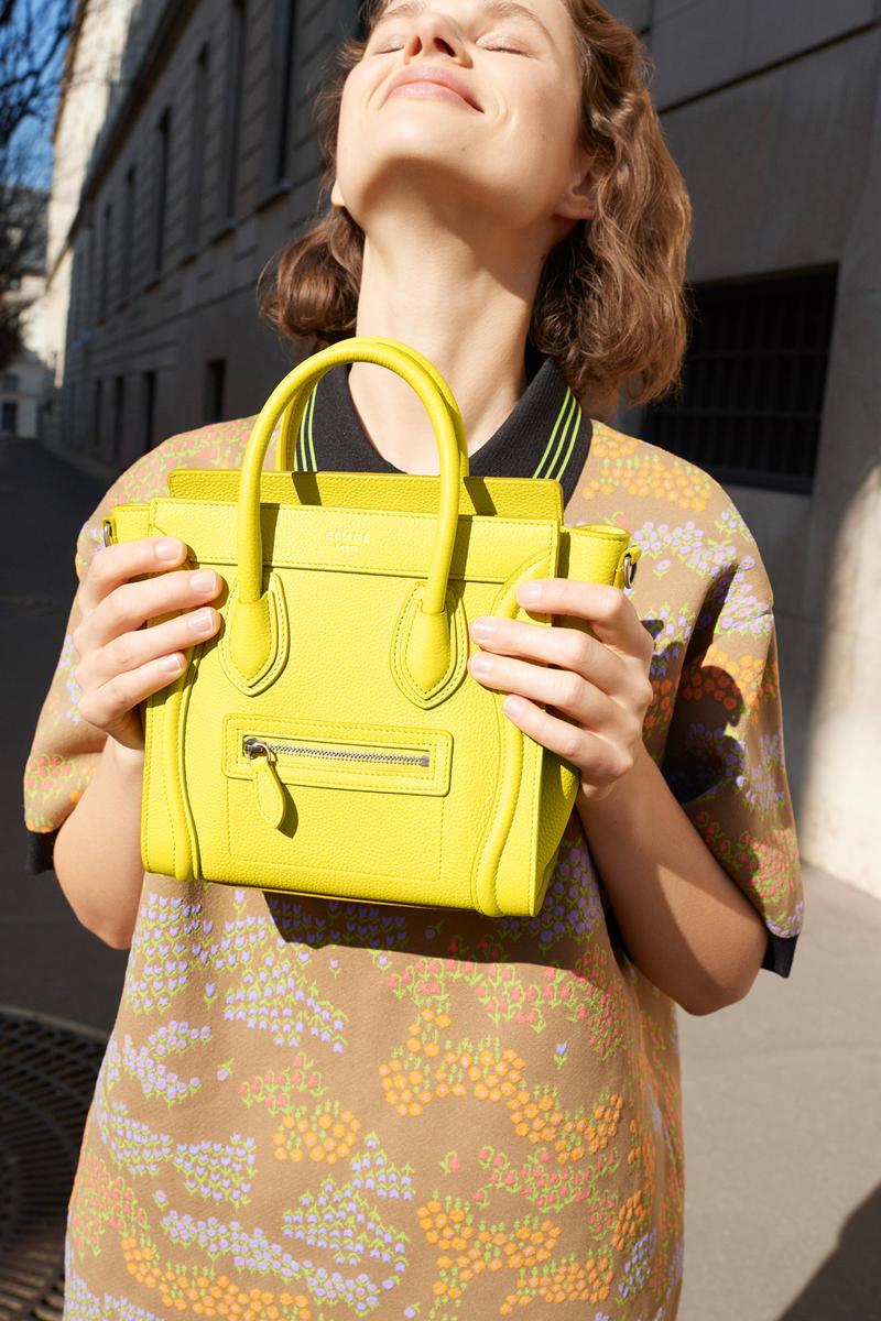 Celine E-Commerce Launch 24 Sevres Floral Polo Sweater Nano Luggage Bag Yellow