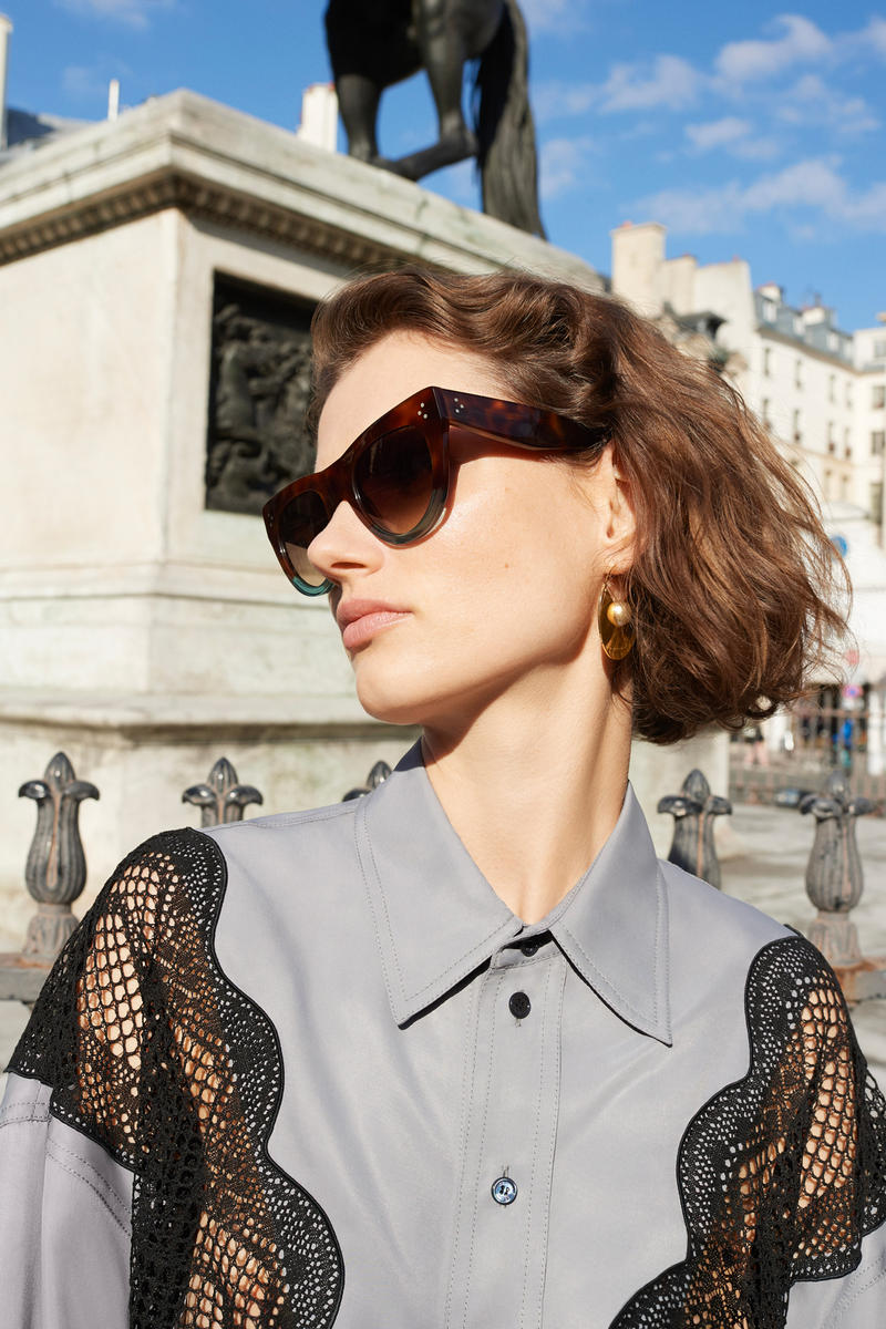 Celine E-Commerce Launch 24 Sevres Collared Lace Shirt Cat Eye Sunglasses t Grey Black Brown Blue