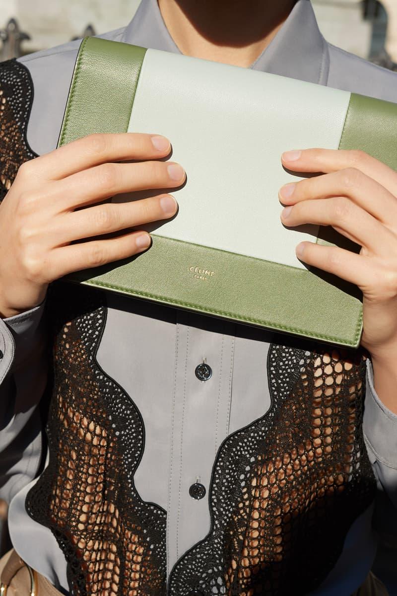 Celine E-Commerce Launch 24 Sevres Silk Shirt Frame Clutch Bag Grey Black Kaki Blue