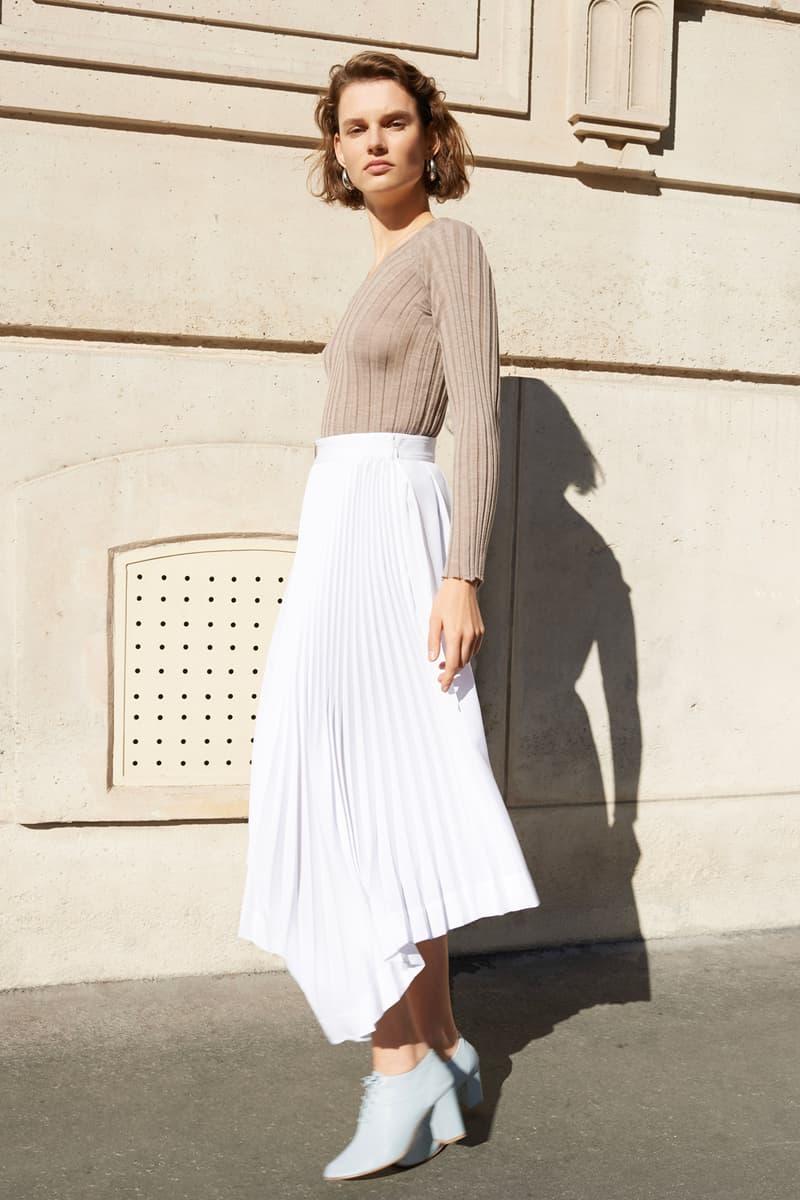 Celine E-Commerce Launch 24 Sevres V-Neck Sweater Asymmetrical Pleated Skirt Soft Dance Loafers Sand White Mineral