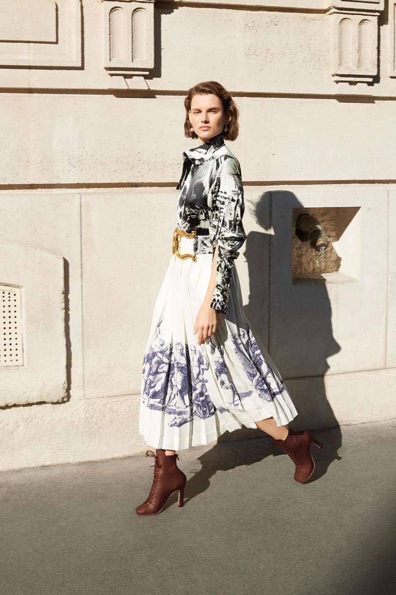 Celine E-Commerce Launch 24 Sevres Silk Patterned Shirt Graphic Skirt Glove Ankle Boots Belt Off-White Brown Gold