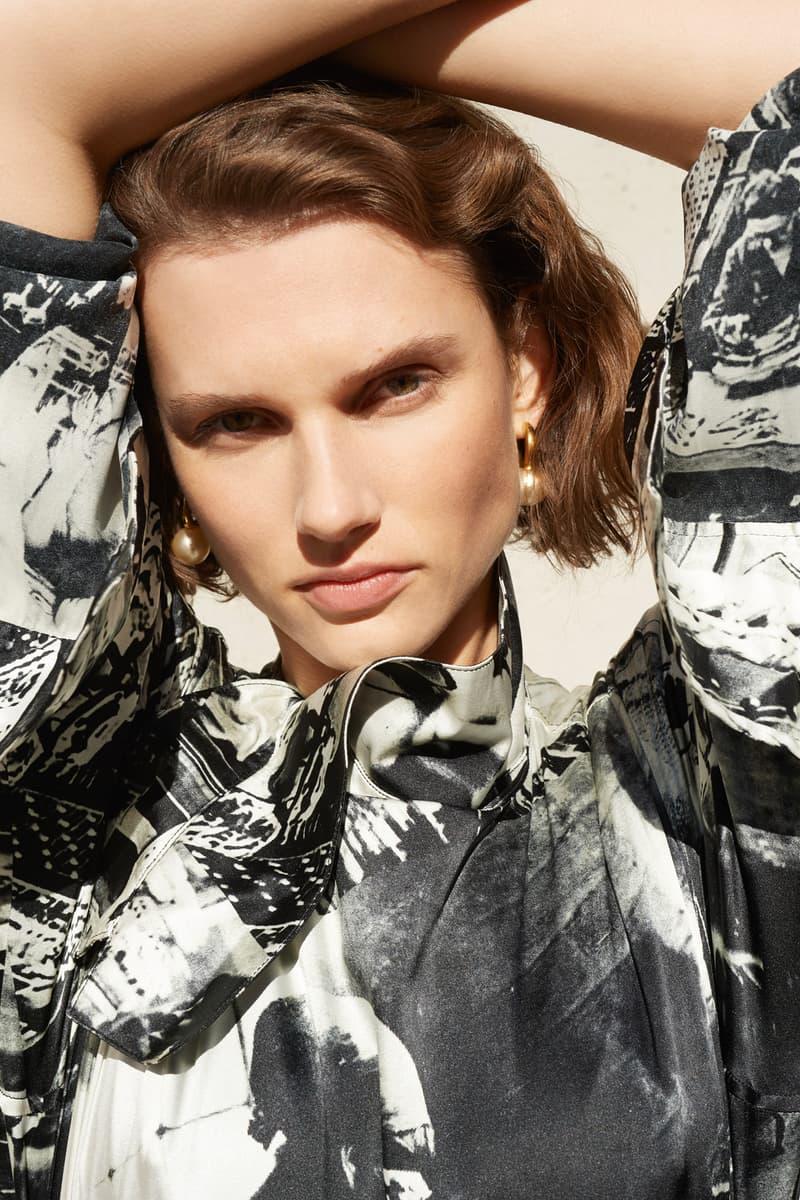 Celine E-Commerce Launch 24 Sevres Silk Patterned Shirt Earrings Off-White Black Gold