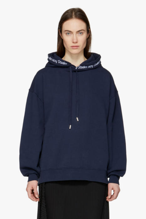Acne Studios Yala As Rib Logo Hoodie Midnight Blue SSENSE