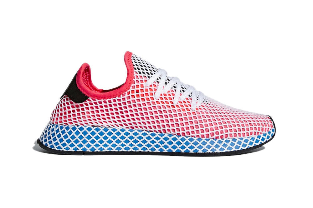 adidas Originals unisex Deerupt sneaker trainers black white solar red bluebird easy green mesh overlay where to buy