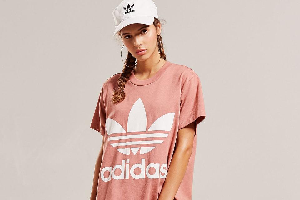 adc93801ffa1 adidas Originals Oversized Dusky Pink Logo T-Shirt   HYPEBAE