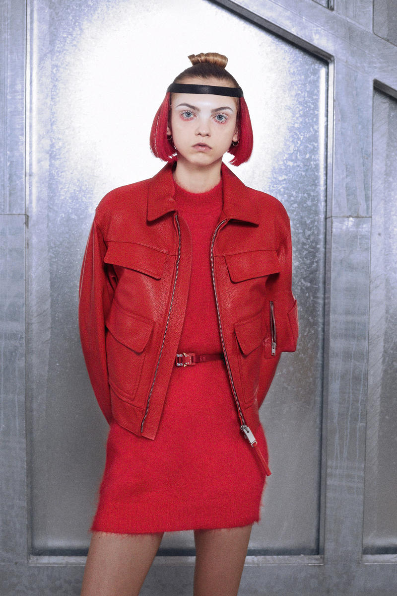 ALYX Fall 2018 Collection Sweater Dress Belt Leather Jacket Red