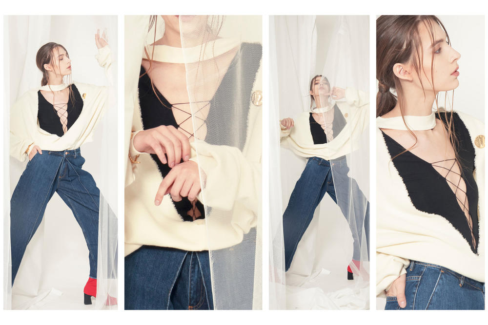 Unravel Project HBX HBXWM Editorial Terry Crewneck Open Back Sweatshirt Alexander Wang Laceup Long Sleeve Bodysuit White Black