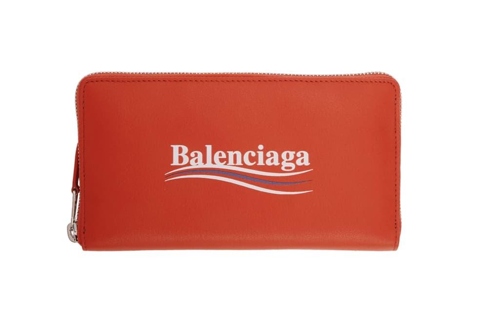 balenciaga campaign logo pouches wallets demna gvasalia red front
