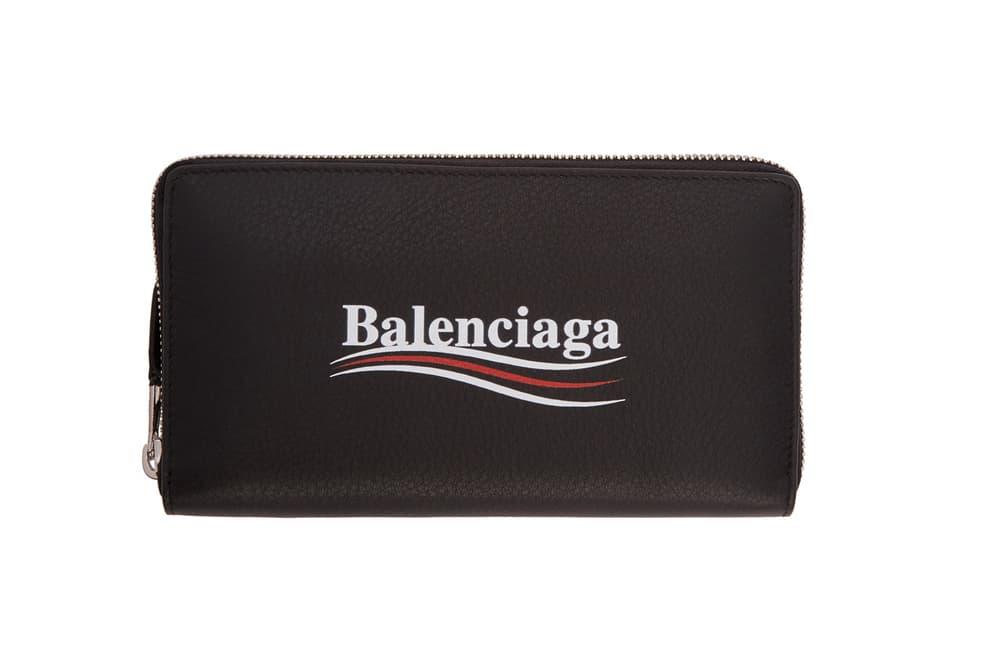 balenciaga campaign logo pouches wallets demna gvasalia black front