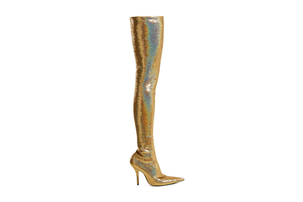 Balenciaga Gold Sequin Over-Knee Knife Boots Glitter Fashion Statement