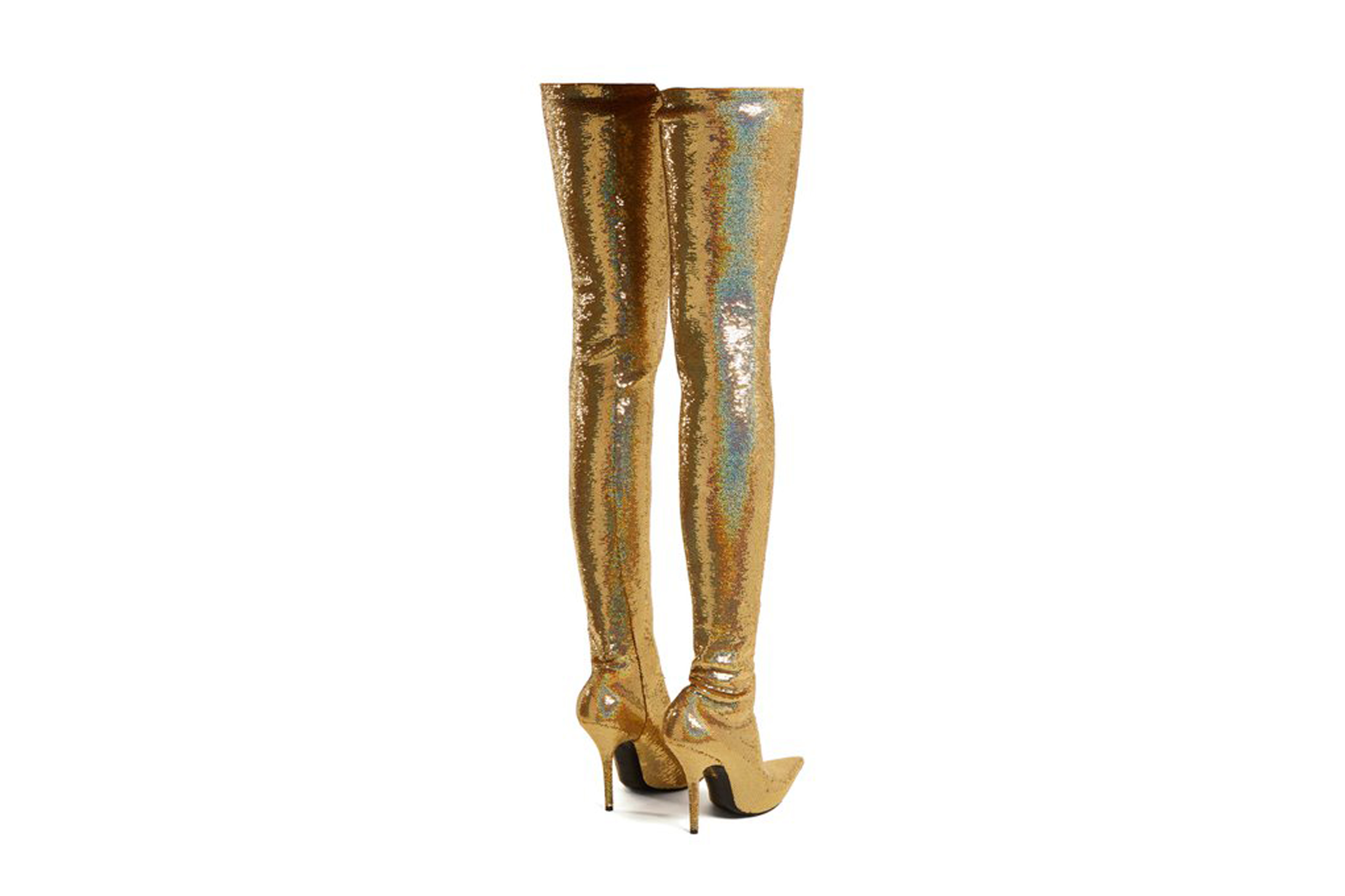 Balenciaga Gold Sequin Over-Knee Knife