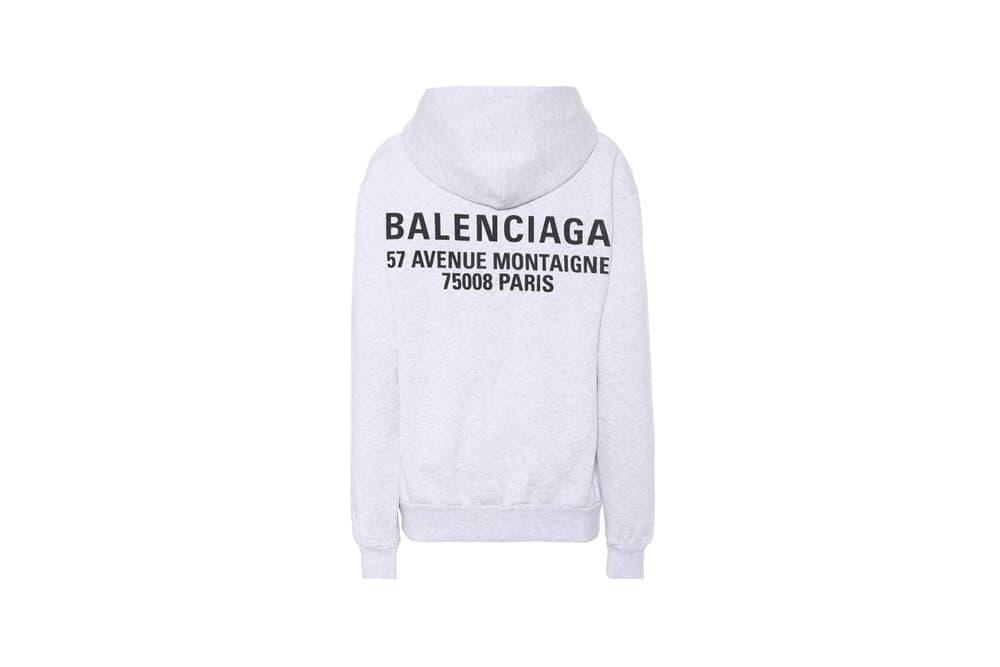 Balenciaga Logo Printed Cotton Hoodie Light Heather Grey Rainbow
