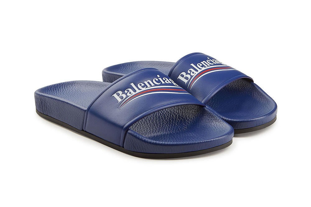 687a957803e Balenciaga Political Logo Slides Bernie Sanders Blue Demna Gvasalia Price
