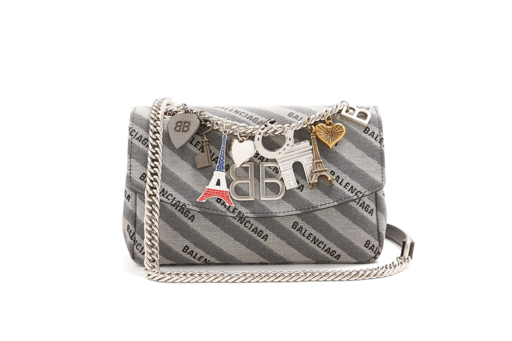 Balenciaga Paris Charm Souvenir Handbag Cross Body Strap Brown Grey Silver Eiffel Tower Spring Summer 2018