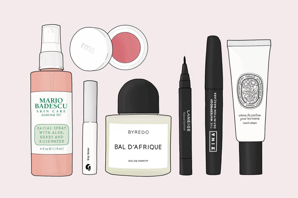 iristrations beauty illustration glossier boy brow mario badescu rms beauty diptyque