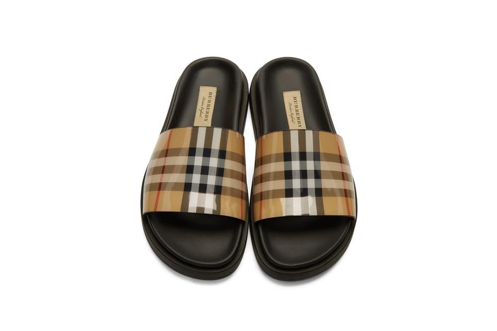 Burberry Vintage Nova Check Pool Slides Slippers Black Beige White Red Classic Summer Shoes Sandals