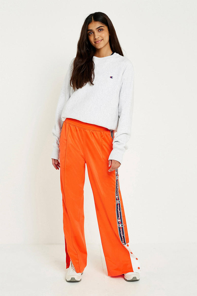 Champion '90s Orange Logo Tearaway Track pants popper retro summer womens where to buy Urban Outfitters