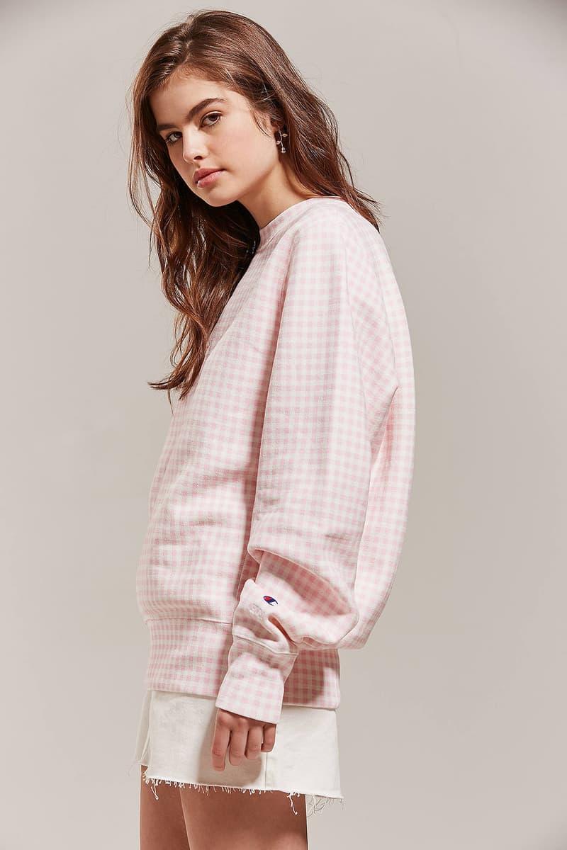 Champion Rose Pink Gingham Logo Sweatshirt Pastel Check Pattern HVN Urban Outfitters Reverse Weave