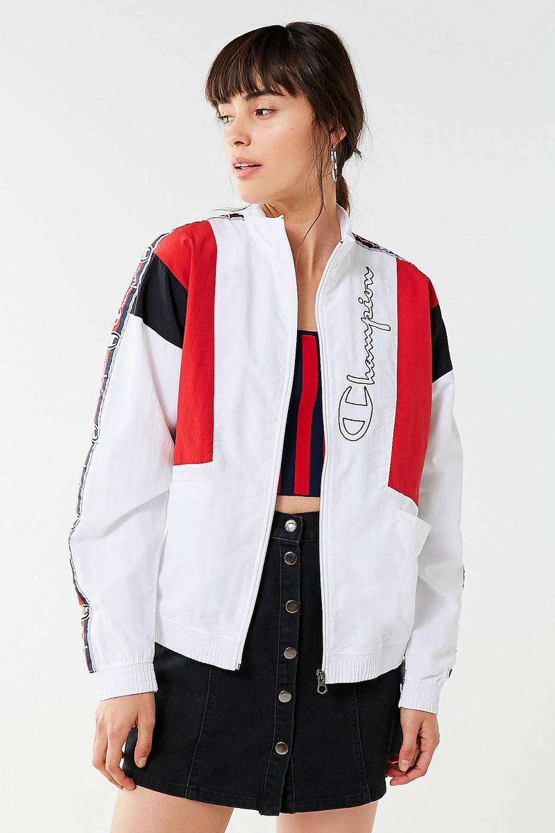 Champion Logo Track Jacket White Red Black