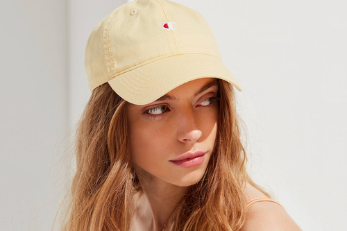 7db6a60464ed Champion x UO Release Exclusive Baseball Hats in Pastel Yellow and Pink
