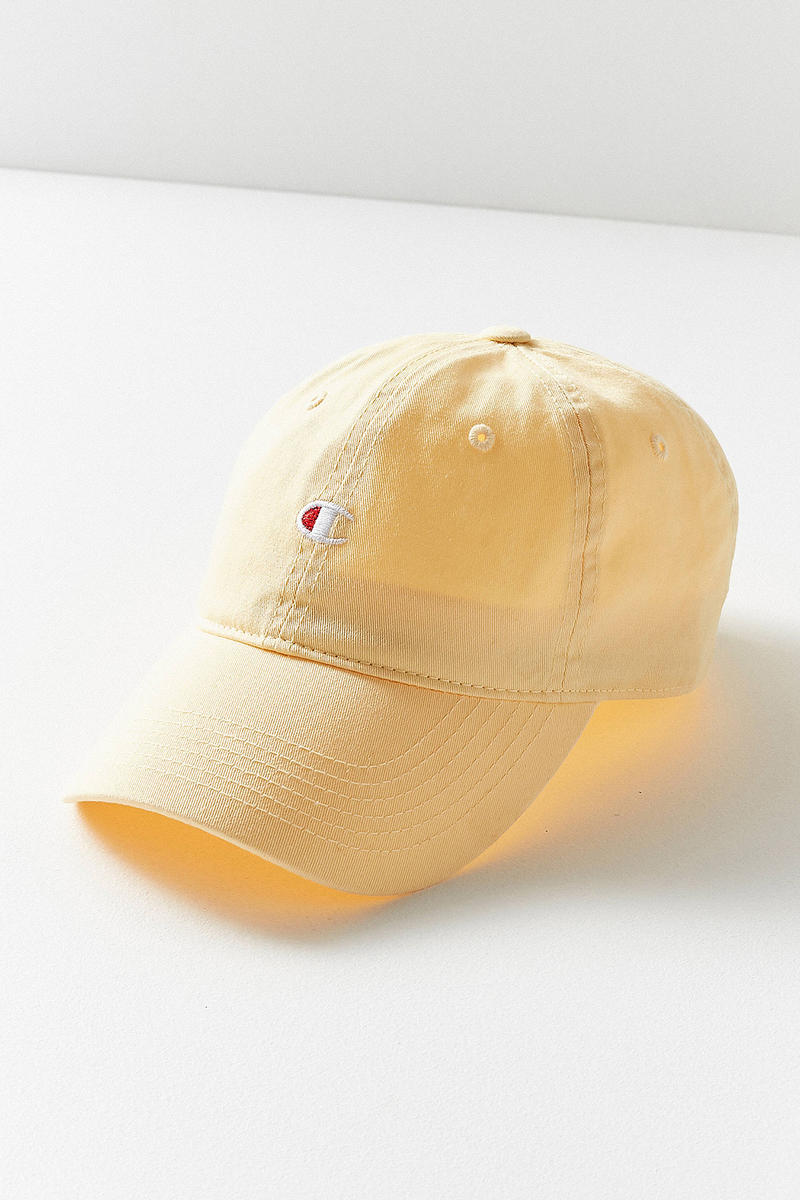 Champion Urban Outfitters Washed Twill Baseball Hat Cap Yellow Logo