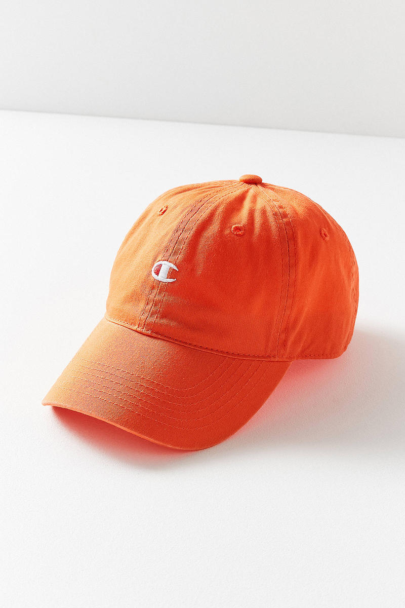 a757a088 Champion Urban Outfitters Washed Twill Baseball Hat Cap Orange Logo