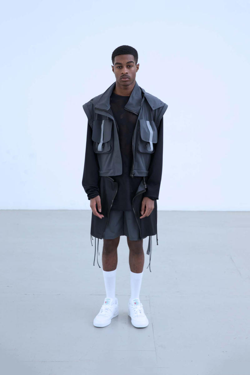 Charli Cohen Fall/Winter 2018 Collection Lookbook Convertible Parka Shorts Grey Black
