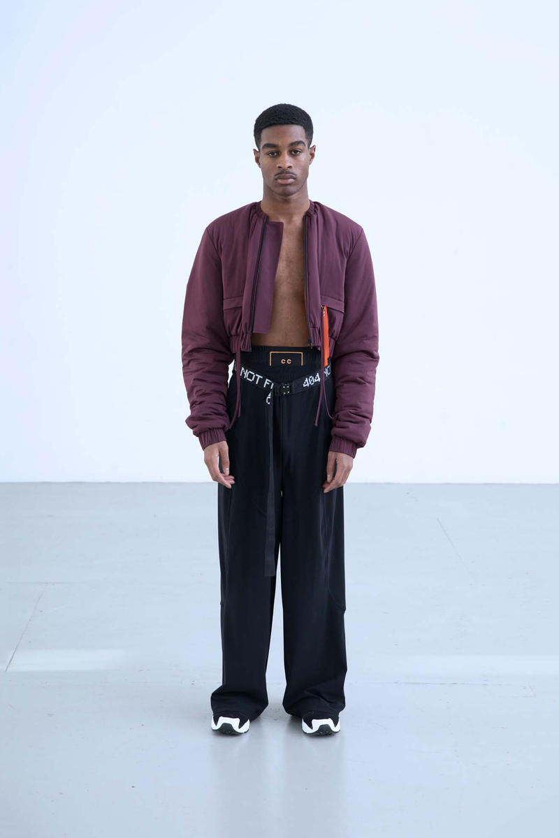 Charli Cohen Fall/Winter 2018 Collection Lookbook Bomber Jacket Pants Burgundy Black