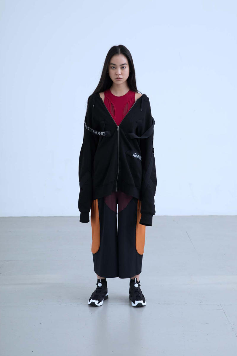 Charli Cohen Fall/Winter 2018 Collection Lookbook Bomber Jacket Shirt Pants Black Burgundy Orange