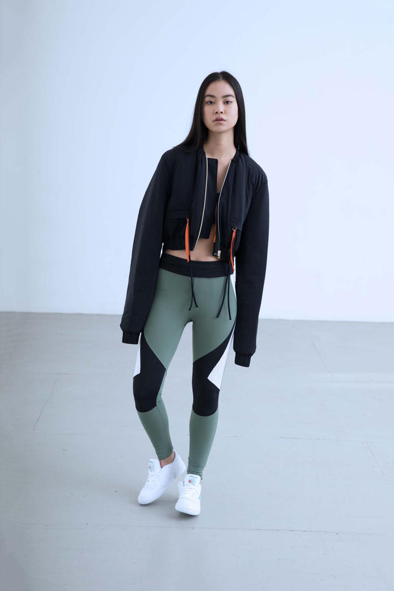Charli Cohen Fall/Winter 2018 Collection Lookbook Bomber Jacket Leggings Black Grey