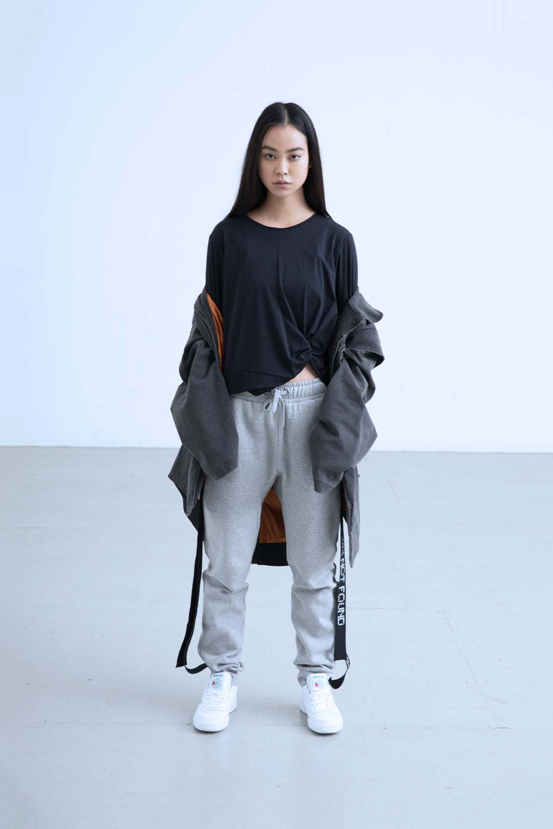 Charli Cohen Fall/Winter 2018 Collection Lookbook Bomber Jacket Shirt Pants Grey Black