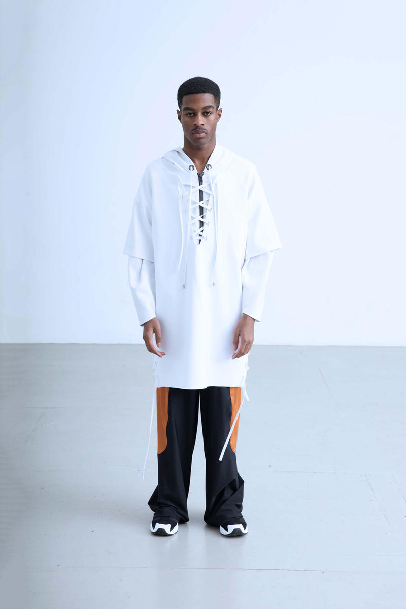 Charli Cohen Fall/Winter 2018 Collection Lookbook Longsleeved Shirt Pants White Black
