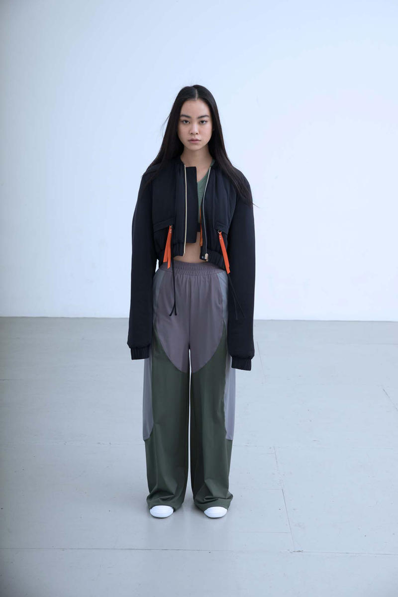 Charli Cohen Fall/Winter 2018 Collection Lookbook Bomber Jacket Pants Black Green