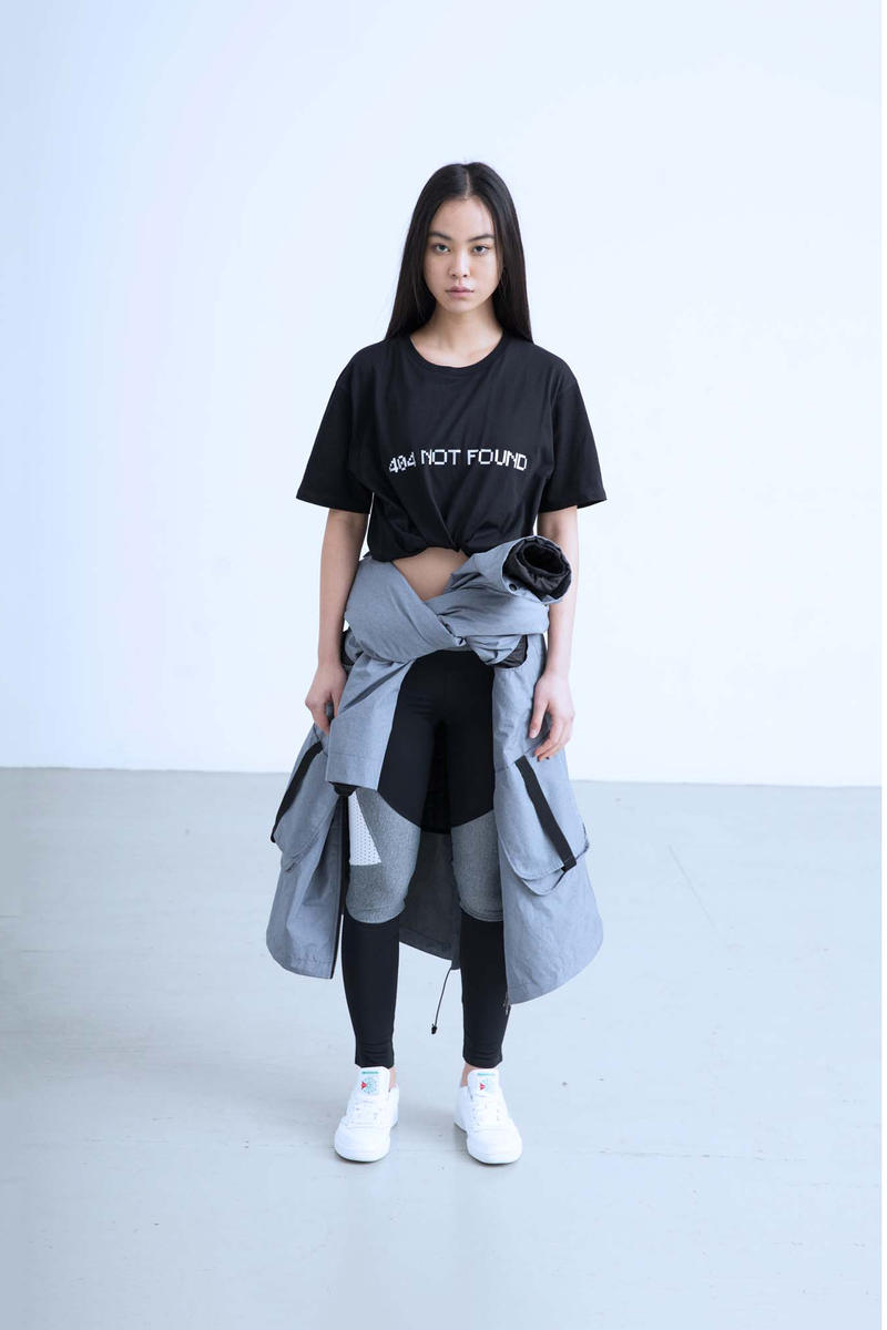Charli Cohen Fall/Winter 2018 Collection Lookbook Convertible Parka T-Shirt Leggings Grey Black