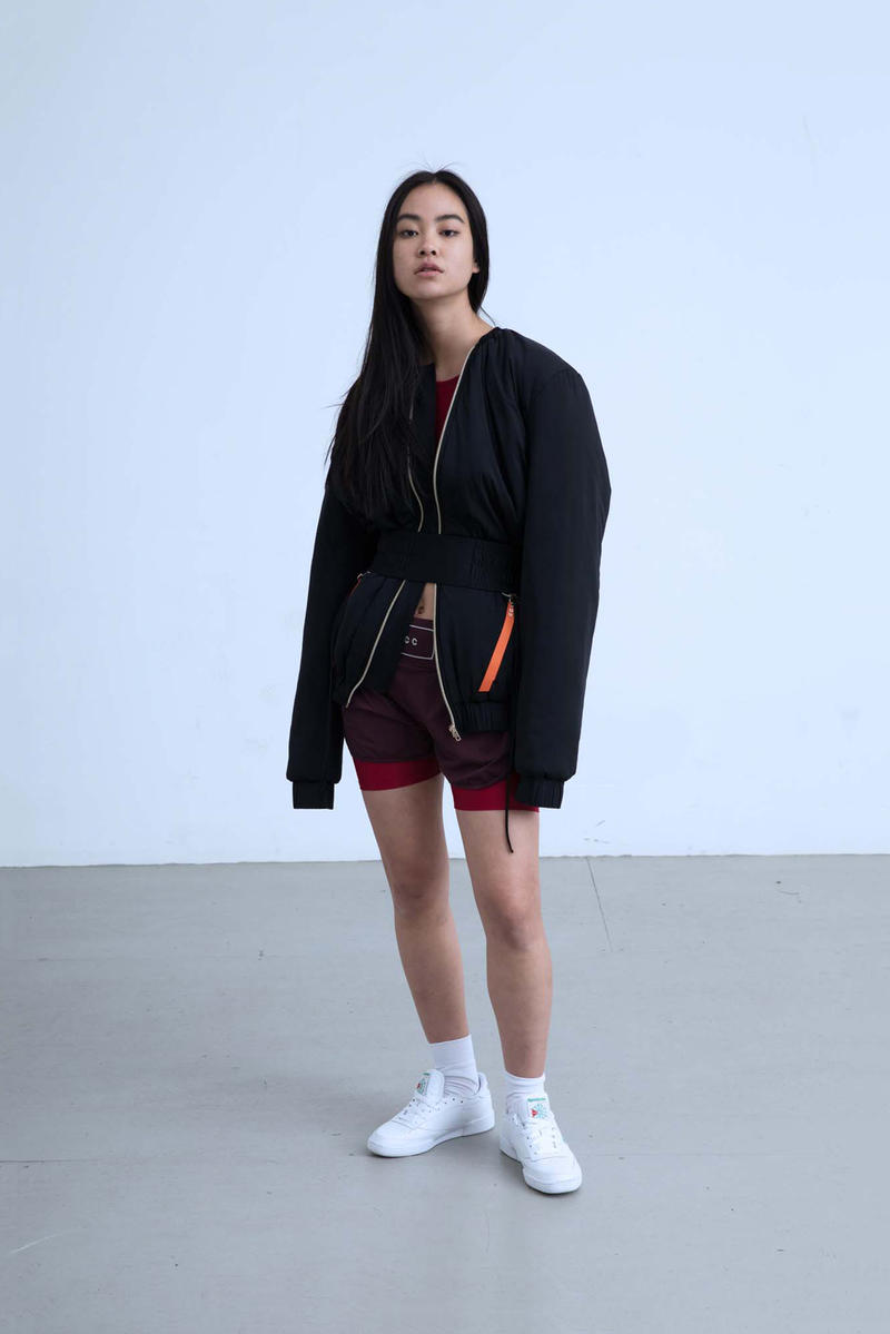 Charli Cohen Fall/Winter 2018 Collection Lookbook Bomber Jacket Shorts Black Burgundy