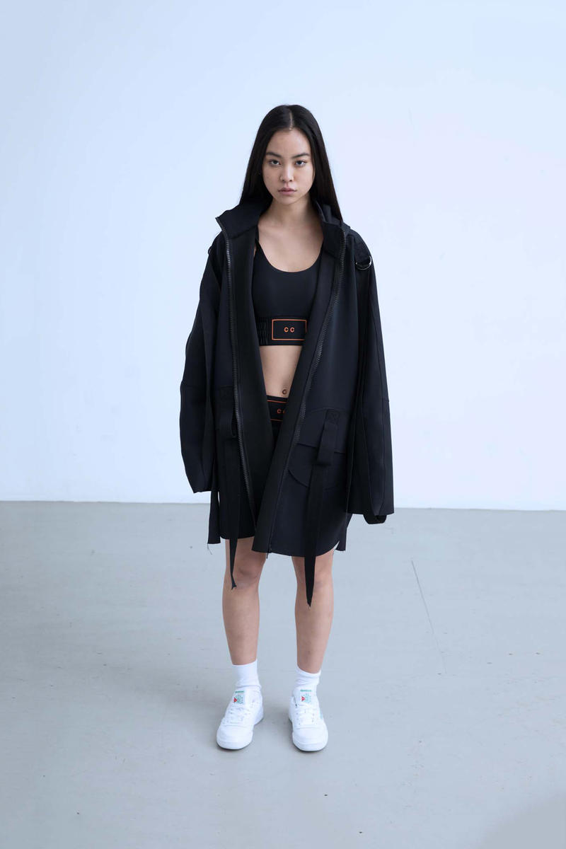 Charli Cohen Fall/Winter 2018 Collection Lookbook Jacket Bra Shorts Black