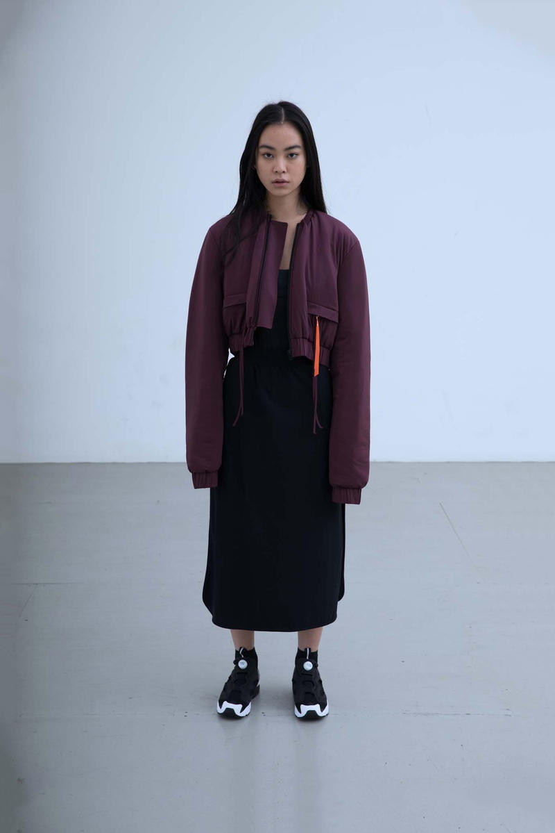 Charli Cohen Fall/Winter 2018 Collection Lookbook Bomber Jacket Dress Burgundy Black