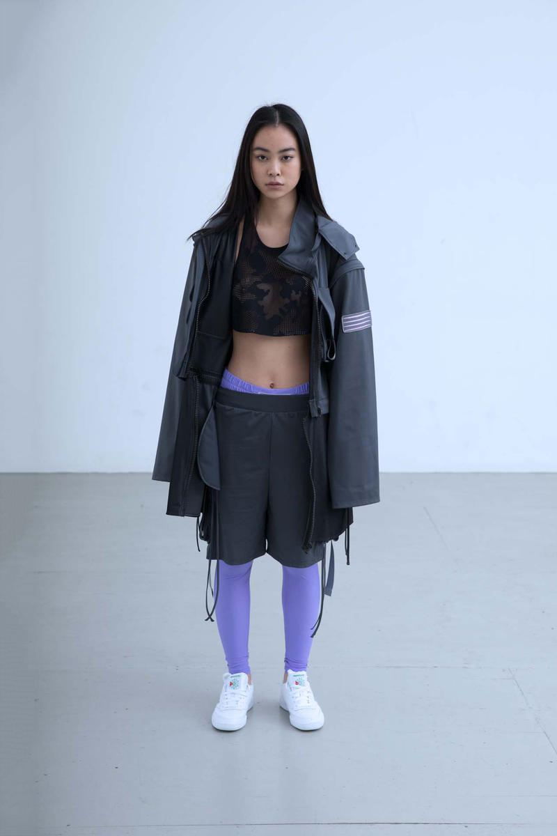 Charli Cohen Fall/Winter 2018 Collection Lookbook Convertible Parka Shorts Leggings Grey Cyber Violet