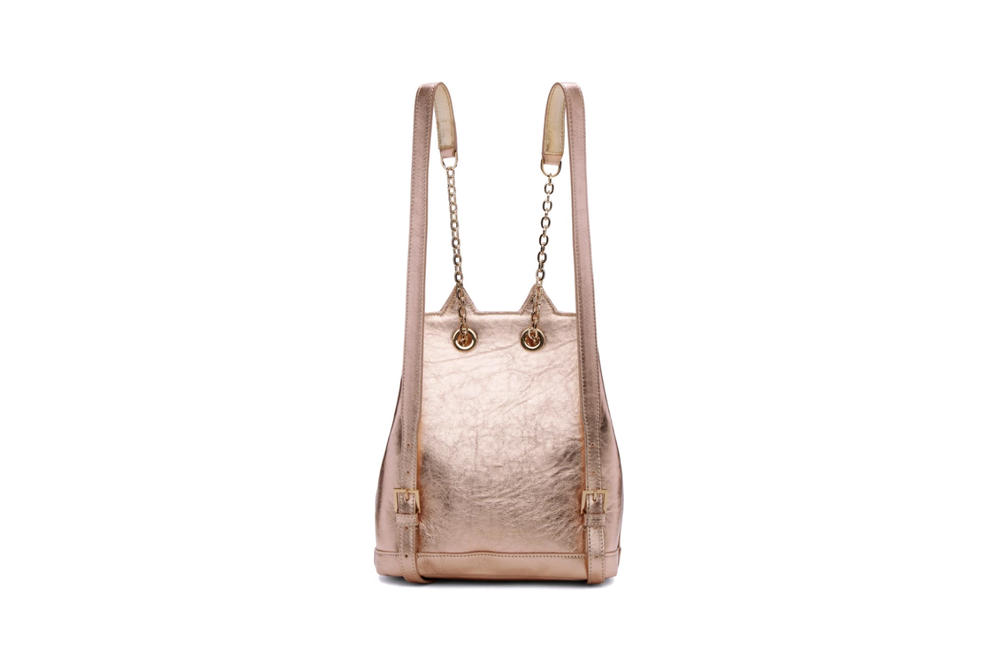 Charlotte Olympia Petit Feline Backpack Metallic Pink Rose