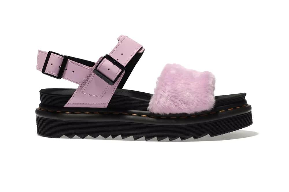 Dr. Martens Fluffy Millennial Pink Platform Sandals doc pastel fuzzy faux fur furry flatform where to buy