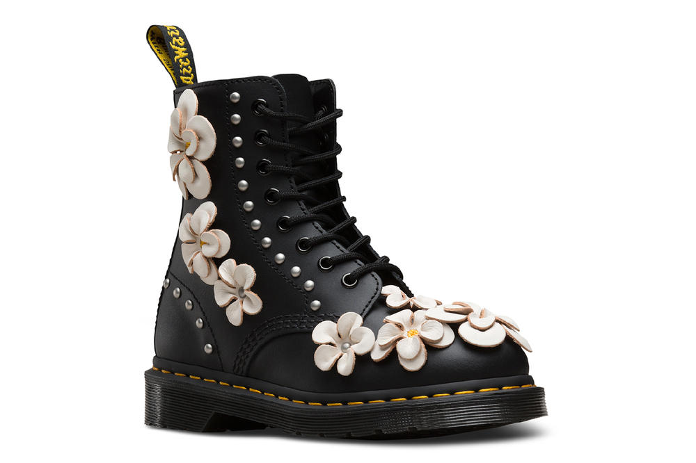 Dr martens doc black pink 3d flower boots shoes leather wanderlust spring 2018 floral where to buy