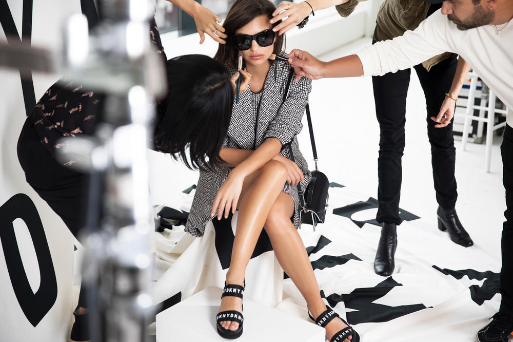 Emily Ratajkowski DKNY Spring Summer 2018 Campaign Check Jacquard Jacket Black