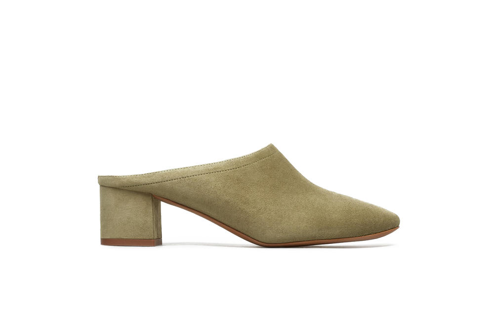 Everlane Everyday Suede Leather Heeled Mules Shoes Footwear Mustard Olive Black Grey Taupe